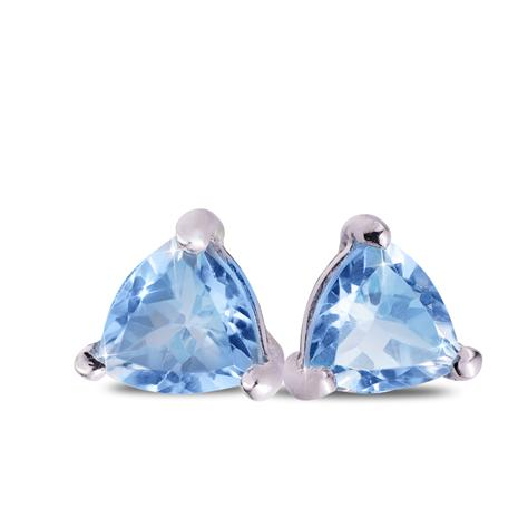 Trillion-Cut Blue Topaz Stud Earrings
