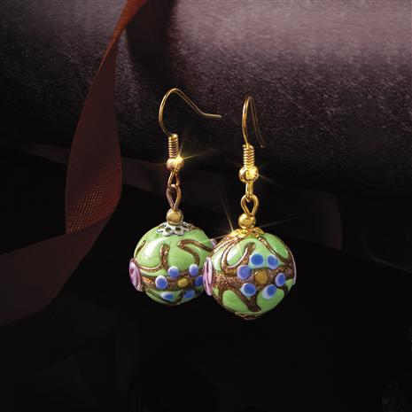 Murano Fiorato Nuziale Verde Earrings