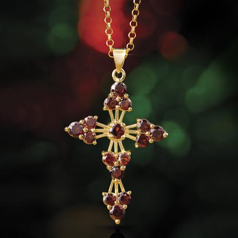 Garnet Cross Pendant and Chain