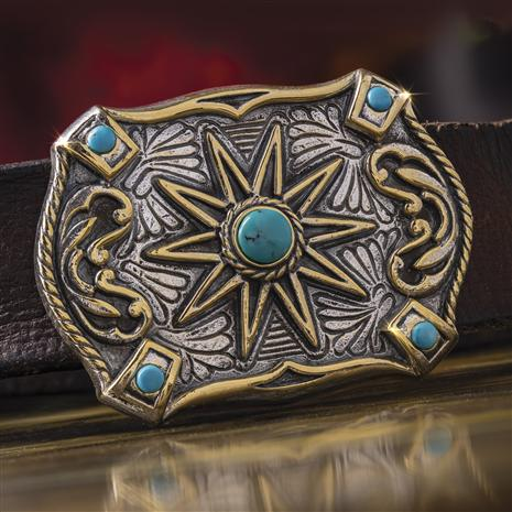 Men's Turquoise Star Belt Buckle