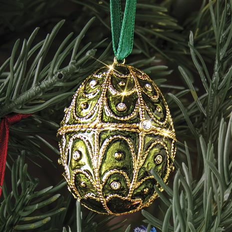 Jewel Tone Emerald Green Egg Ornament