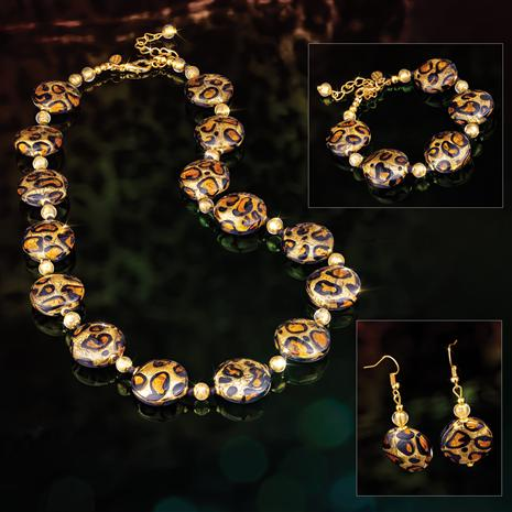 Murano Leopardo Necklace, Bracelet & Earrings