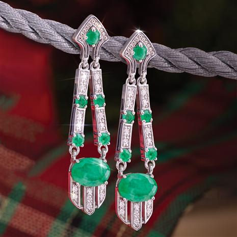 Deco Emerald Gem Drop Earrings