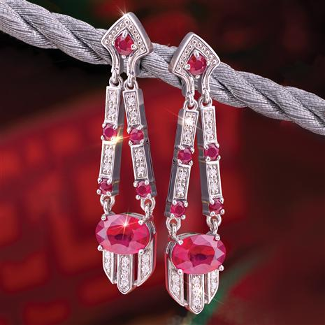 Deco Ruby Gem Drop Earrings