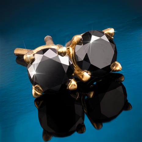 14K Yellow Gold Noire Black Diamond Stud Earrings