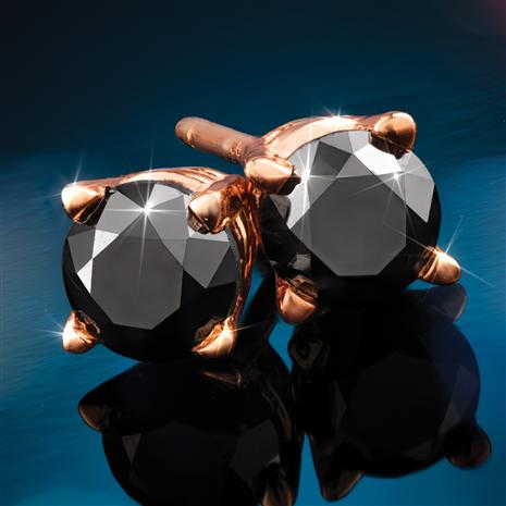 Rose Gold-finished Sterling Silver Noire Black Diamond Stud Earrings