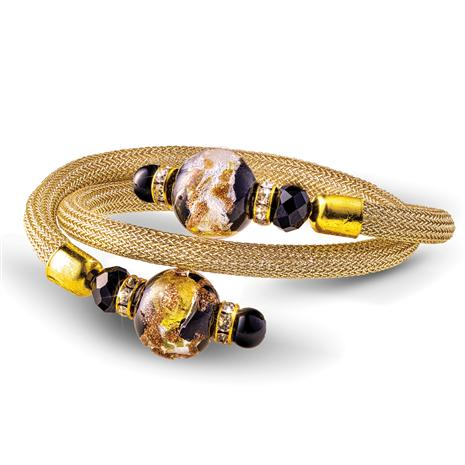 Wrap Around Murano Bracelet (Black & Gold)