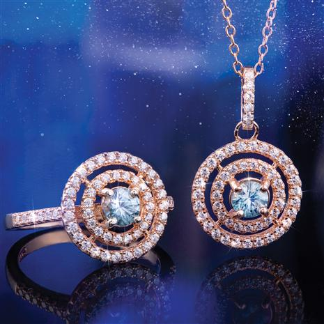 Blue & White Zircon Halo Necklace & Ring