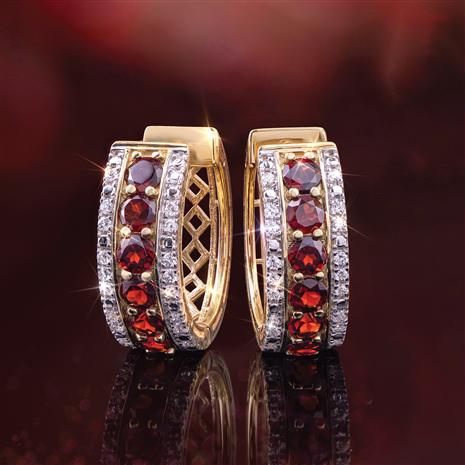 Red Garnet Huggie Hoop Earrings