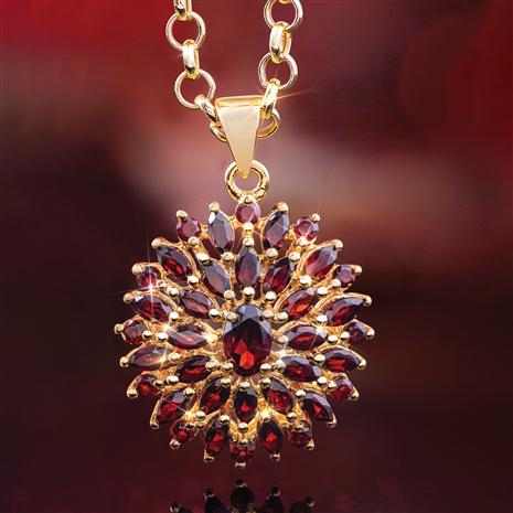 Red Garnet Sunburst Pendant & Chain