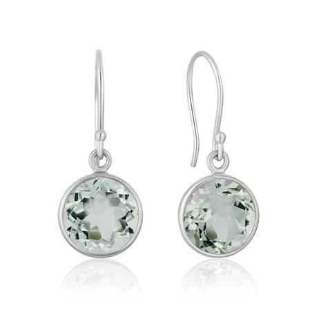 Green Amethyst Round Cut Drop Earrings