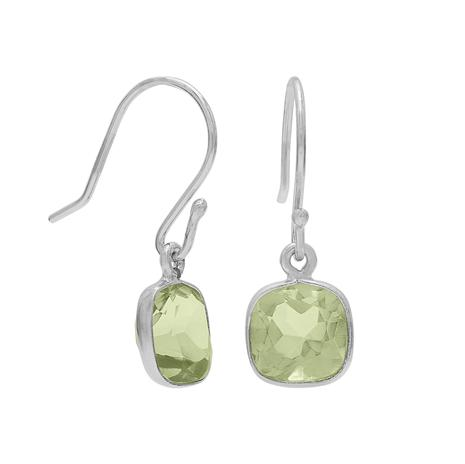 Green Amethyst Cushion Cut Drop Earrings
