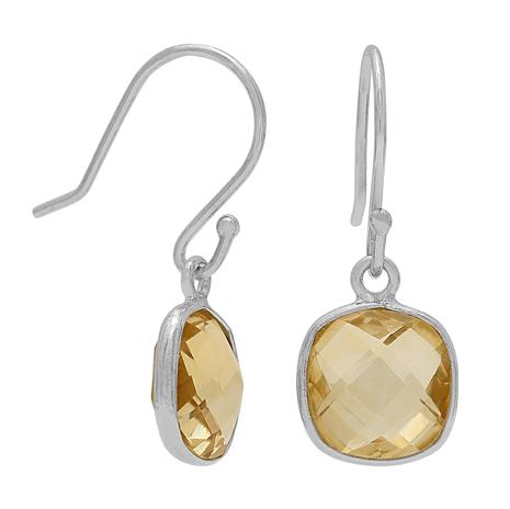 Citrine Cushion Cut Drop Earrings