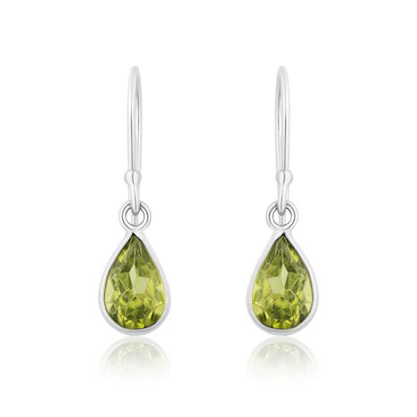 Peridot Pear Cut Drop Earrings