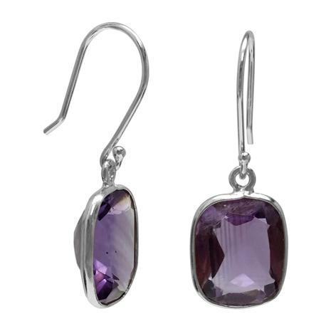 Amethyst Cushion Cut Drop Earrings