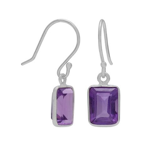 Amethyst Octagon Cut Drop Earrings
