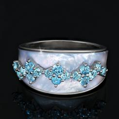 Mother-of-Pearl & Sky Blue Topaz Luminosity Ring