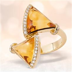 Fancy Citrine & White Sapphire Trillion Ring