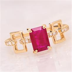 14K Gold Emerald-Cut Ruby RIng