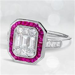 18K White Gold Ruby & Diamond Art Deco Ring
