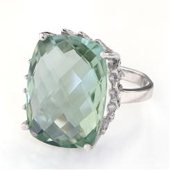 Gemstone Decadence Green Amethyst Cushion Cut Ring