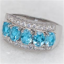 5-Stone Swiss Blue Topaz Ring
