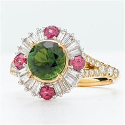 14K Yellow Gold Green Tourmaline with Rhodolite & White Diamonds