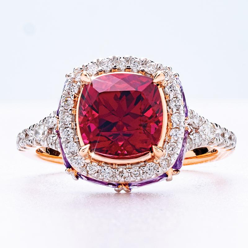 14K Rose Gold Rhodolite with Amethyst & White Diamonds