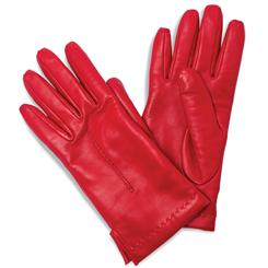 Ladies Italian Leather Gloves (Red)