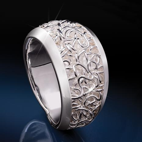 White Silver Flourishes Ring