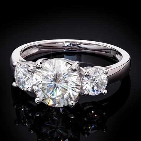Moissanite 3-Stone Ring (2 ctw)