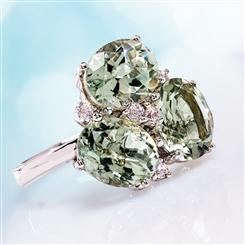 Green Amethyst Trifecta Ring