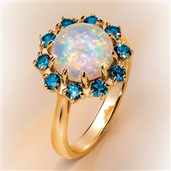 Moon River Opal & London Blue Topaz Ring (2 2/3 ctw)