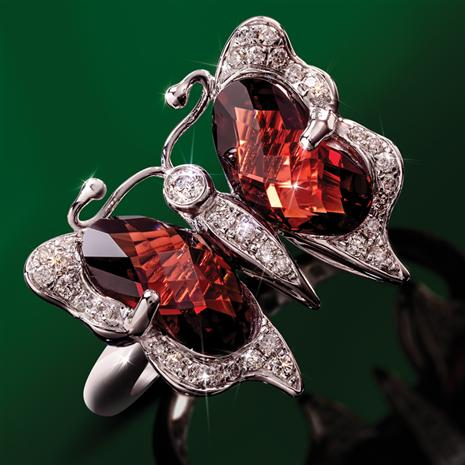 Garnet and Diamond Butterfly Ring