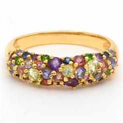 Gemstone Cluster Ring in Yellow Gold-Finished Sterling Silver