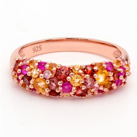 Gemstone Cluster Ring in Rose Gold-Finished Sterling Silver