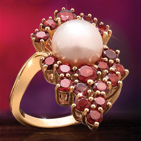 Garnet Cabernet and Freshwater Pearl Ring