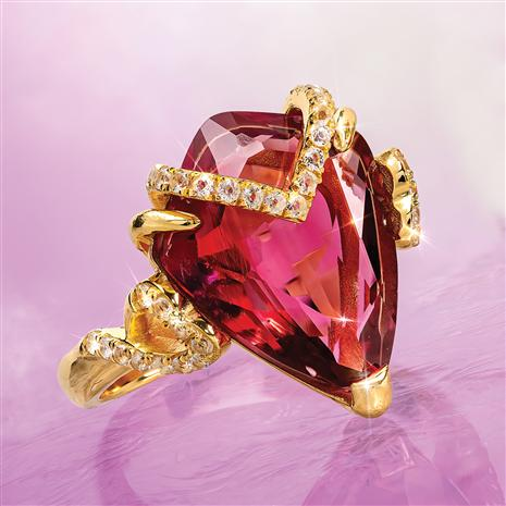 Fancy Cut Red Helenite & Diamond Ring