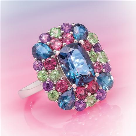 14K White Gold London Blue Topaz & Mixed Gemstone Ring