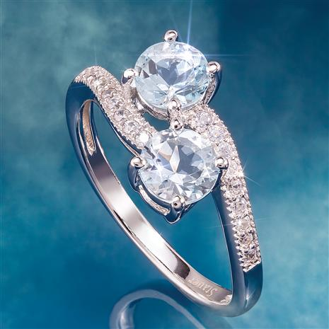 Aquamarine Infinity Ring