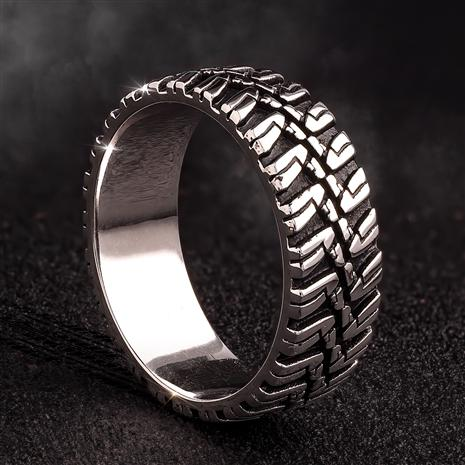 Men's Sterling Silver Road Warrior Ring