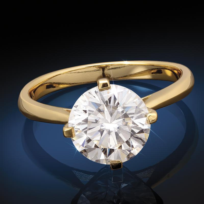 Yellow Gold-Finished Sterling Silver Moissanite Solitaire Ring (2 carat)