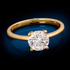 Yellow Gold-Finished Sterling Silver Moissanite Solitaire Ring (1 carat)