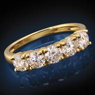 Yellow Gold-Finished Sterling Silver Moissanite 5-Stone Ring (1 1/6 ctw)