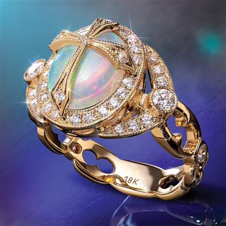 18K Gold Opal & Diamond Stauropolis Ring