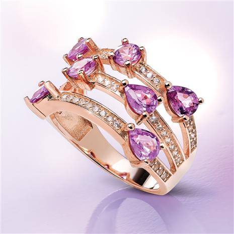 10K Rose Gold Purple Sapphire Triple Band Ring