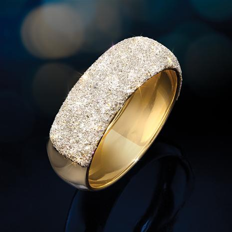 14K Italian Gold Ring with Lab-Created Diamonds