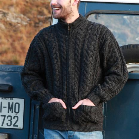 Genuine Irish Wool Zippered Sweater (Charcoal)