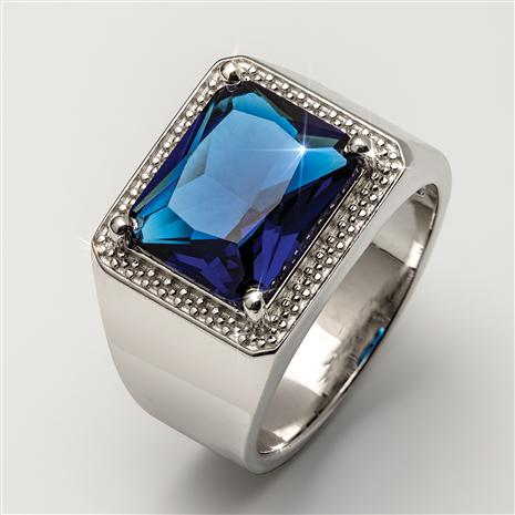 Men's Blue Heat Helenite Ring