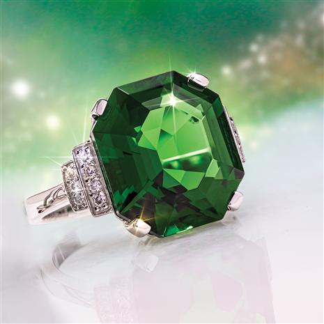 Fancy Elevation Helenite & Diamond Ring